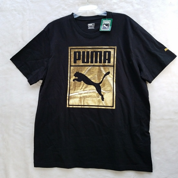 b67c42d0c09 Puma Shirts | Short Sleeved Mens Tshirt Black Gold Xxl | Poshmark